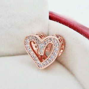 Pandora Rose Gold Sparkling Freehand Heart Char